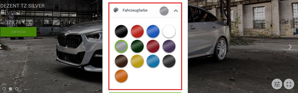 Farbe im 3D Felgenkonfigurator auswählen