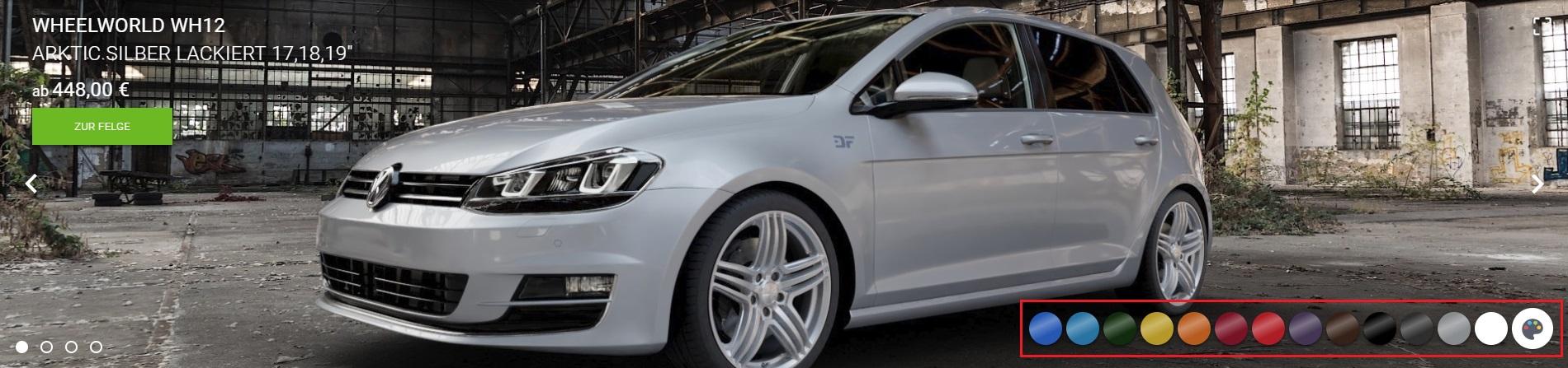 3D Felgenkonfigurator Fahrzeugfarbe wählen